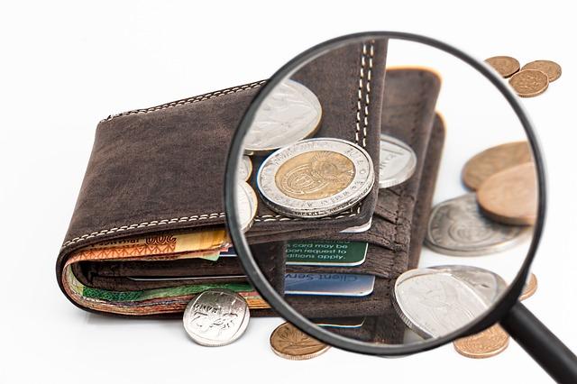 peněženka a peníze kolem
